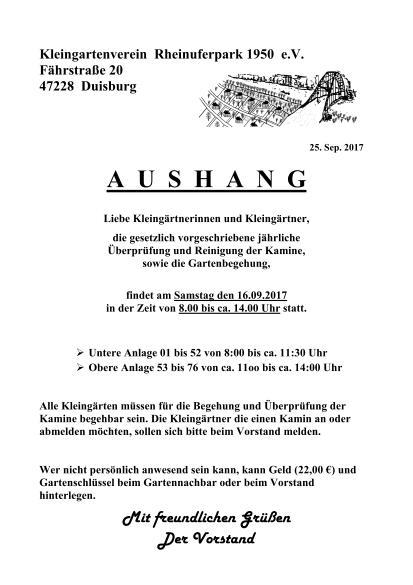 Schornsteinfeger, Gartenbegehung